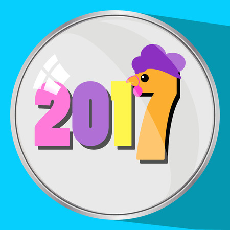 seventeenth: the icon picture the button reflection glass number two thousand seventeenth 2017 on a blue fone.simvol Christmas a rooster chicken bird. to use for design, the press, t-shirts. vector illustration. Stock Photo