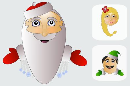 señora: La señora AGD ms. elfos Claus cabeza en el fondo blanco de tres