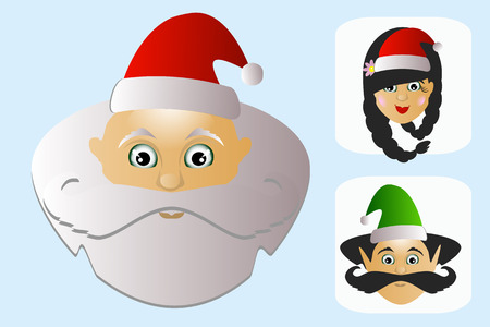 Santa Claus vector on white background a lot of characters