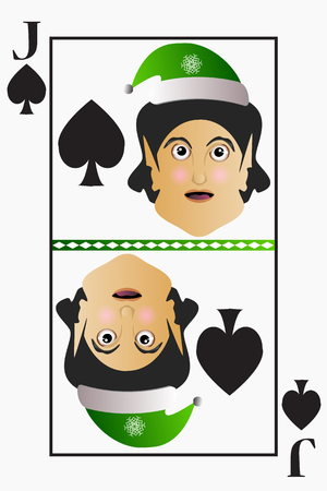 detachable: Vector elf simple easy Christmas Jack playing card suit spades on a white background editable detachable.