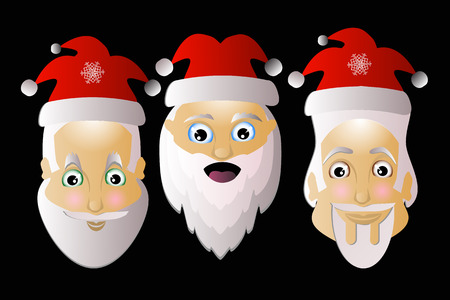 saint nick: Santa Claus icon vector simple easy editable on a white background together in Troy on a black background.