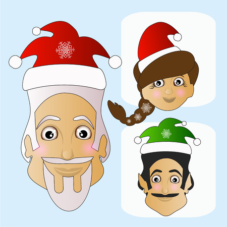extravagant: Santa Claus icon vector and MIS Santa Claus and elf phenomenal exotic extravagant on a white background to separate easily.
