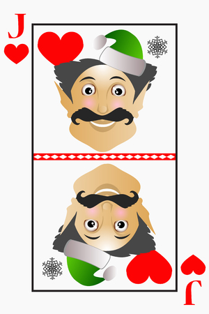 hearts and roses: Vector elf Christmas simple easy plays Jack card suits of hearts, roses Illustration