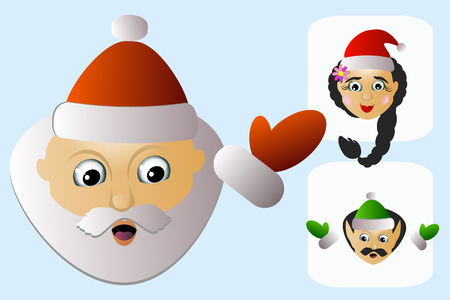 Santa Claus icon head difficult unconventional unordinary his assistants a few people