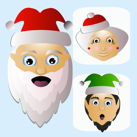 mrs santa claus: Santa Claus icon vector and MIS Santa Claus and elf difficult unconventional territory on a white background to separate easily. Stock Photo