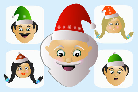 mrs santa claus: Santa Claus icon head wayward eccentric outlandish his assistants a few people. Stock Photo
