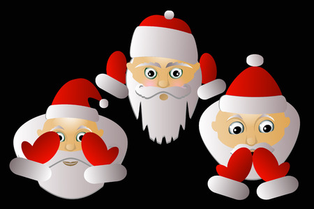 Santa Klausy cheerful vector three together on a black background