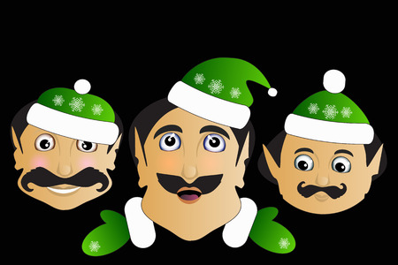 Elf icon basic simplified Christmas smiley face on a black background. Stock Photo