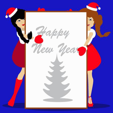 morose: Santa girls Christmas New Year on blue background vector illustration of a sheet of white paper