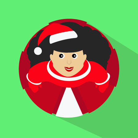 Brunette Santa girl cartoon character top view button vector