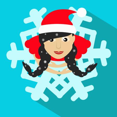morose: Santa girl Christmas New Year vector illustration snowflake brunette