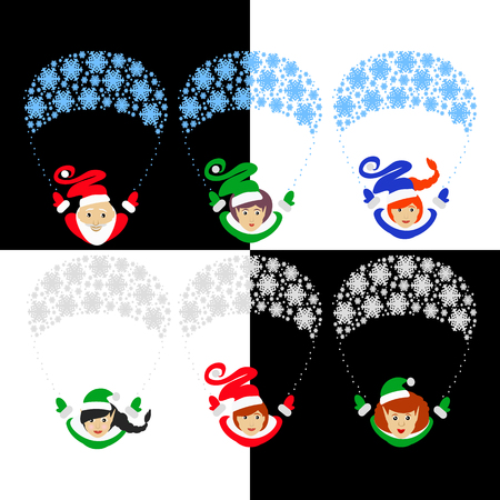 Santa Claus elf the vector illustration  of 10 assistants on a parachute from snowflakes. Santa Claus gerl assistants. Santas assistants traditional suit. Santas family of elfs isolated against the background of. for the press, design, websites, registr Illustration