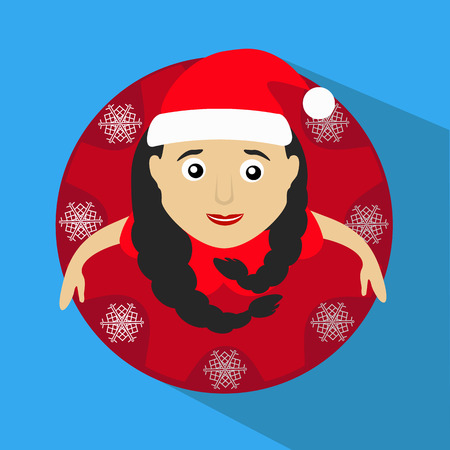 miss claus santa with snowflakes round button to click Illustration