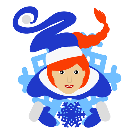 the girl red Santa Claus in the form of a snowflake an icon. on a white fone.dlya of the press, undershirts, t-shirts, fabric, cards, design. vector illustration.