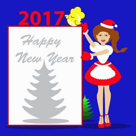 santaclause hat: Santa girl Christmas New Year on a blue background with the symbol of 2017goda cock chicken rooster vector illustration of a sheet of white paper