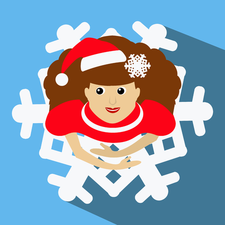 mrs  santa claus: the girl Mrs. Santa Claus in a red cap with a snowflake in a hair. the top view, looks up. a skirt in a look a snowflake. Dance, dances. On a blue background. To use for the press, design, t-shirts, the websites. vector illustration