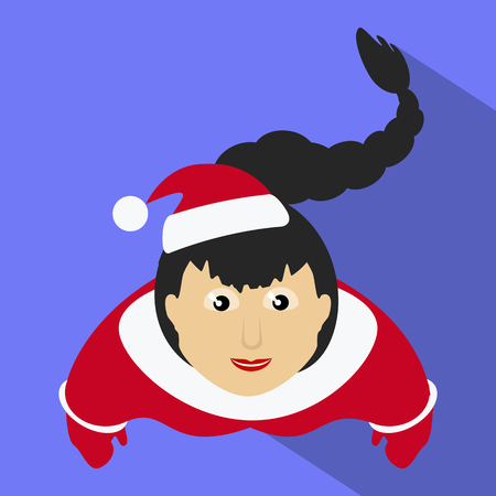miss claus Santa with a long oblique top view of a purple background