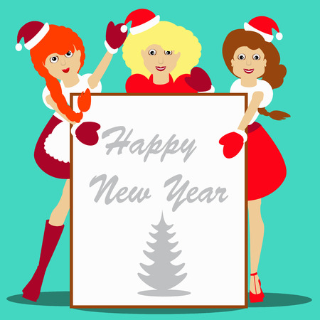 Snow-maiden Santa girls Christmas New Year on blue background vector illustration of a sheet white paper for writing text
