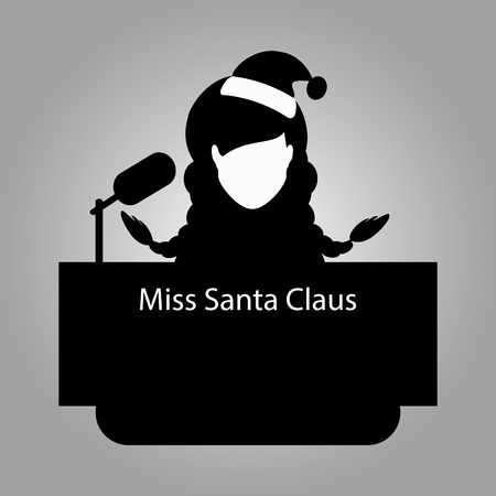 sexy xmas elf: Santa Claus the girl a braid, a tribune of an interview to give. vector illustration . On light it is easy to separate a background. Black white. To spend for the press, the website, an undershirt Illustration