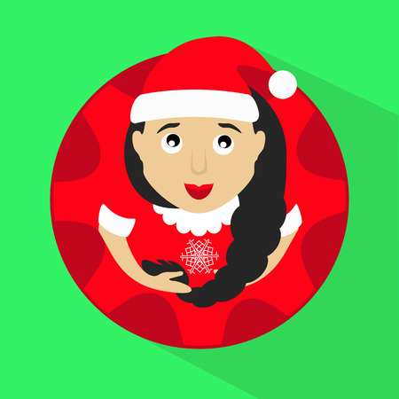 santaclause hat: miss claus santa with snowflakes round button to click Stock Photo