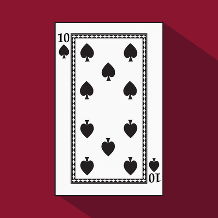 decrepit: playing card. the icon picture is easy. peak spide TEN 10 with white a basis substrate. a vector illustration on a red background. application appointment for: website, press, t-shirt, fabric, interior, registration.