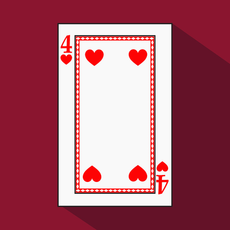 hand holding playing card: playing card. the icon picture is easy. HEART FOUR 4 with white a basis substrate. a vector illustration on a red background. application appointment for: website, press, t-shirt, fabric, interior, registration, design.Y POKER
