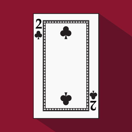 playing card. the icon picture is easy. peak spide TWO 2 with white a basis substrate. a vector illustration on a red background. application appointment for: website, press, t-shirt, fabric, interior, registration, design Illustration
