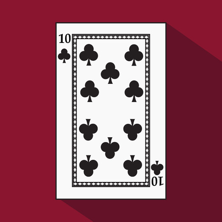 preference: playing card. the icon picture is easy. peak spide TEN 10 with white a basis substrate. a vector illustration on a red background. application appointment for: website, press, t-shirt, fabric, interior, registration