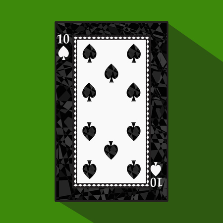 decrepit: playing card. the icon picture is easy. peak spide TEN 10 about dark region boundary. a vector illustration on a green background. application appointment for: website, press, t-shirt, fabric, interior, registration, design.