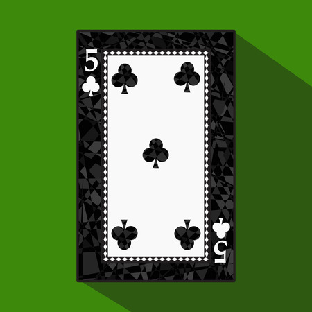 straight flush: playing card. the icon picture is easy. CLUB FIVE 5 about dark region boundary. a vector illustration on a green background. application appointment for: website, press, t-shirt, fabric, interior, registration, design.