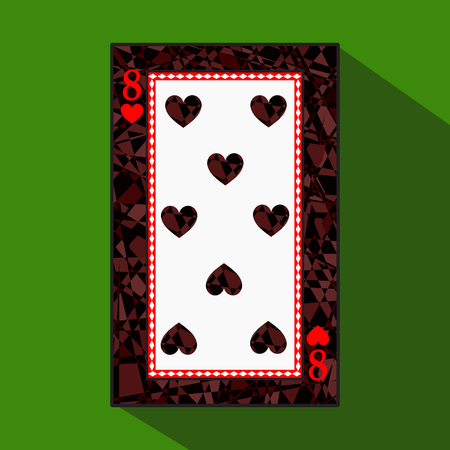 playing card. the icon picture is easy. HEART EIGHT 8 about dark region boundary. a vector illustration on a green background. application appointment for: website, press, t-shirt, fabric, interior, registration, design