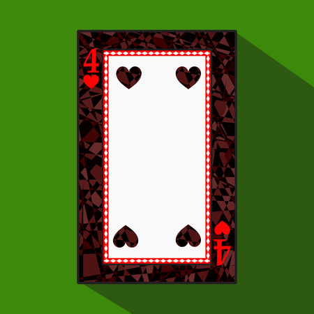 hand holding playing card: playing card. the icon picture is easy. HEART FOUR 4 about dark region boundary. a vector illustration on a green background. application appointment for: website, press, t-shirt, fabric, interior, registration, design