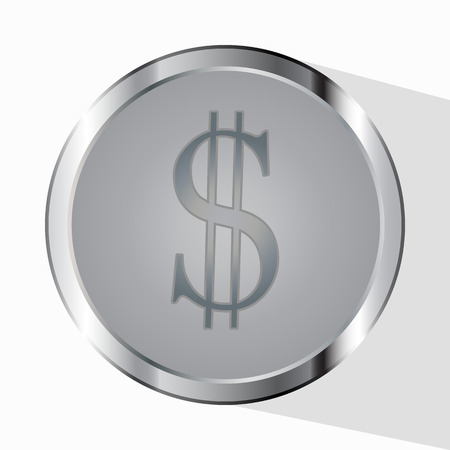 service provider: Money. Line Symbol vector. Payment service provider. Coins and the Dollar Sign of cent are isolated on a white background. Flat style of design. Business concept. Monochrome