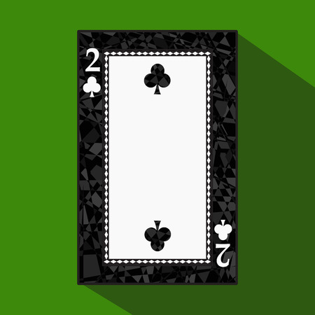 playing card. the icon picture is easy. CLUB TWO 2 about dark region boundary. a vector illustration on a green background. application appointment for: website, press, t-shirt, fabric, interior, registration, design