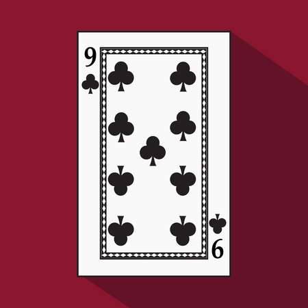 decrepit: playing card. the icon picture is easy. peak spide NINE 9 with white a basis substrate. a vector illustration on a red background. application appointment for: website, press, t-shirt, fabric, interior, registration, design