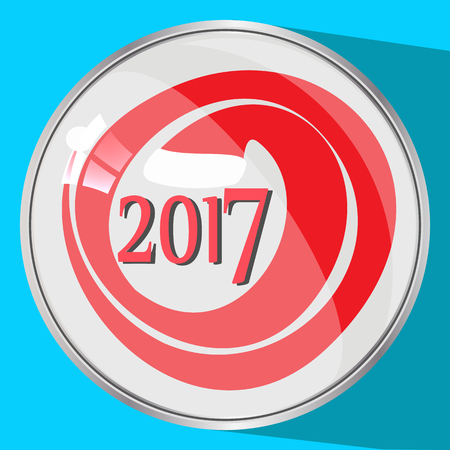 seventeenth: the icon picture the button reflection glass number two thousand seventeenth 2017 red on a blue fone.simvol Christmas a fancy long cap Santa Claus. to use for design, the press, t-shirts. vector illustration.