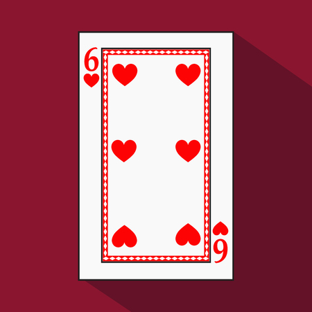 jack pack: playing card. the icon picture is easy. HEART 6 with white a basis substrate. a vector illustration on a red background. application appointment for: website, press, t-shirt, fabric, interior, registration, design.TO PLAY POKER Illustration
