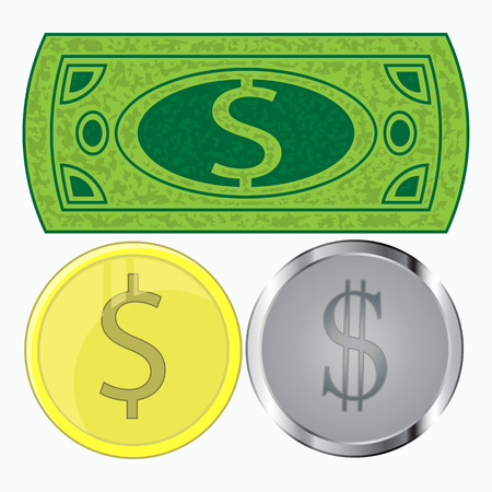 beg: Dollar and cent. Paper dollars and coins. Vector design. The monetary vector illustration isolated on white. Note background. To use for the press, the website, an undershirt, a t-shirt