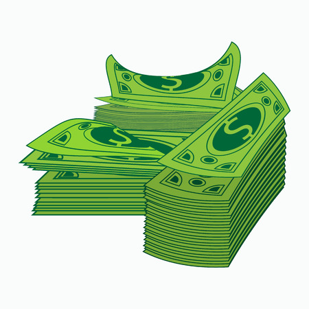 money pile: Hill of bundles with money. Business and banking concept. vector illustration. Isolated on white background. Cash dollars money pile. Currency bills.
