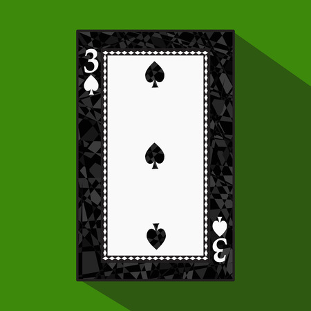 straight flush: playing card. the icon picture is easy. peak spide THREE 3 about dark region boundary. a vector illustration on a green background. application appointment for: website, press, t-shirt, fabric, interior, registration, design.