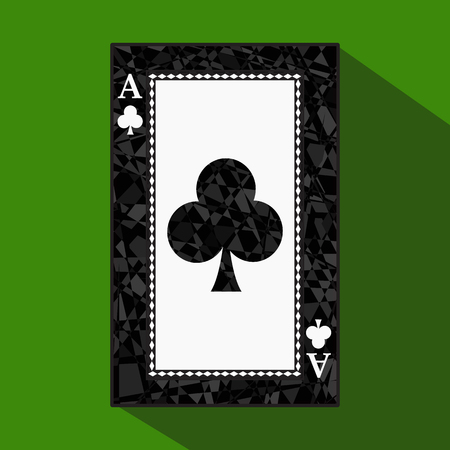 elaborate: playing card. the icon picture is easy. CLUB ace about dark region boundary. a vector illustration on a green background. application appointment for: website, press, t-shirt, fabric, interior, registration. Illustration