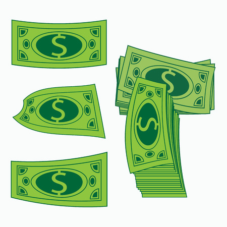 easy money: Icon simple money. Concept profit. Green American dollar. A vector an illustration on white it is easy to separate a background