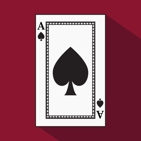 decrepit: playing card. the icon picture is easy. peak spide ace with white a basis substrate. a vector illustration on a red background. application appointment for: website, press, t-shirt, fabric, interior, registration.
