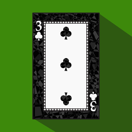 playing card. the icon picture is easy. CLUB THREE 3 about dark region boundary. a vector illustration on a green background. application appointment for: website, press, t-shirt, fabric, interior, registration, design