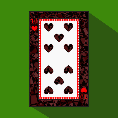 playing card. the icon picture is easy. HEART TEN 10 about dark region boundary. a vector illustration on a green background. application appointment for: website, press, t-shirt, fabric, interior, registration, design