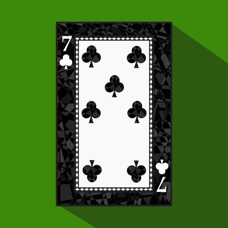 playing card. the icon picture is easy. CLUB SEVEN 7 about dark region boundary. a vector illustration on a green background. application appointment for: website, press, t-shirt, fabric, interior, registration, design