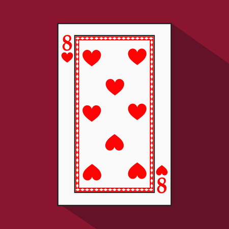 knave: playing card. the icon picture is easy. HEART EIGHT 8 with white a basis substrate. a vector illustration on a red background. application appointment for: website, press, t-shirt, fabric, interior, registration, design.TO PLAY POKER. Stock Photo