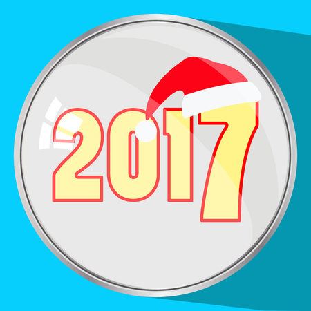 the icon picture the button reflection glass number two thousand seventeenth 2017 yellow on a blue fone.simvol Christmas a cap Santa Claus. to use for design, the press, t-shirts. vector illustration. Stock Photo