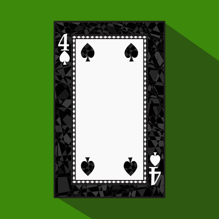 playing card. the icon picture is easy. peak spide FOUR 4 about dark region boundary. a vector illustration on a green background. application appointment for: website, press, t-shirt, fabric, interior, registration, design. Stock Photo
