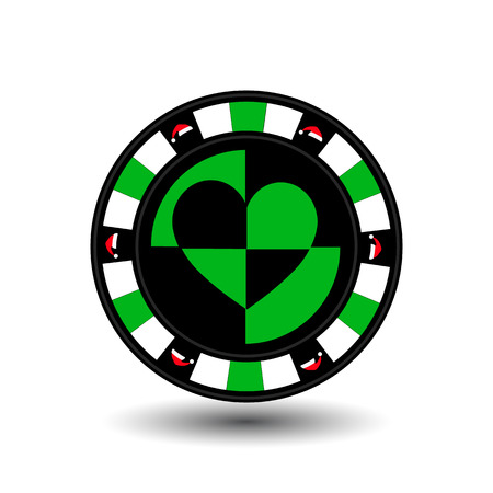 straight flush: chip poker casino Christmas new year. Icon vector illustration  on white easy to separate the background. To use for sites, design, decoration, printing, etc. red Cap around on the edge of the green chip in the middle of the heart.